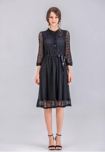 hk-ehunter black 3/4 Sleeves Lace Dress 439CFAA65E783AGS_1