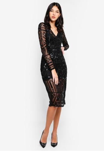 Miss Selfridge black Aztec Bead Midi Dress 4EFCDAAA231702GS_1