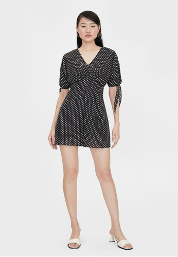 Pomelo black V Neck Polka Dot Romper - Black 2A266AAC326A41GS_1