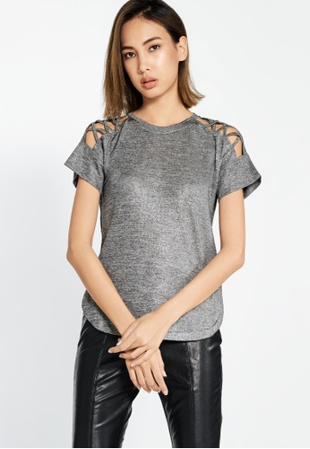 Pomelo grey Tasha Cut Out Tee - Silver 1C4AFAA3BF0448GS_1