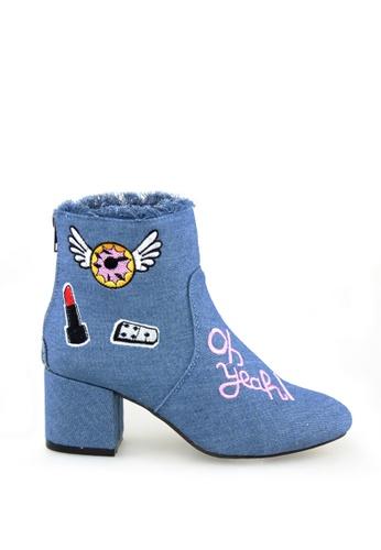 London Rag 藍色 彰牌牛仔短靴 066C3SHE637E12GS_1