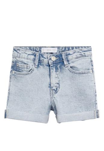 MANGO KIDS blue Rolled-Up Hem Denim Shorts 61C68KA376EA04GS_1