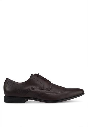 Burton Menswear London brown Perforated Detailing Brown Leather Formal Wingcap Shoes D0D1BSH7D6C6C4GS_1