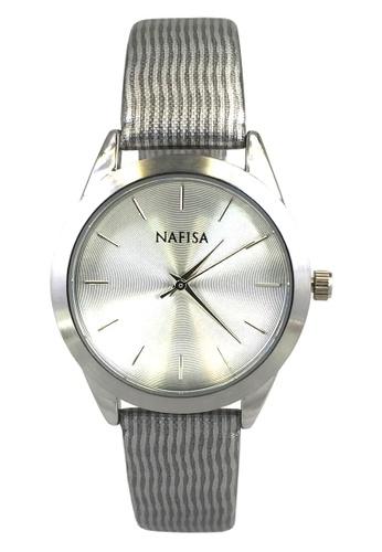 Chronomart silver Nafisa Dial Space Silver Quartz Printed Fabric Strap Wrist Watch CH783AC74QXDPH_1