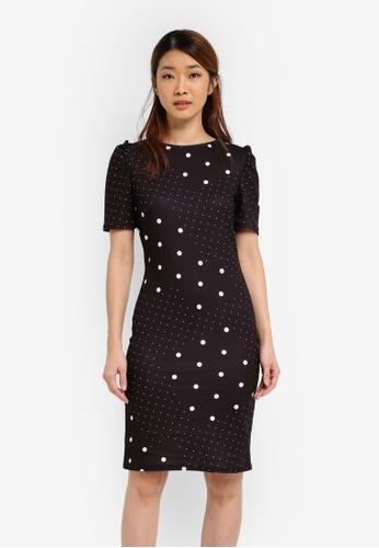 Dorothy Perkins black Spot Tuck Sleeve Bodycon Dress DO816AA0SJ61MY_1