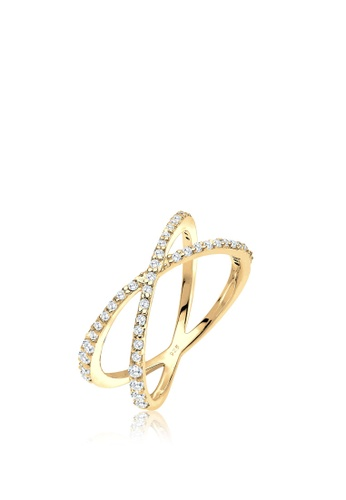 ELLI GERMANY gold Elli Germany Ring Ring Sterling Silver Gold-Plated Zirconia Crossed 49B44AC0BABC5AGS_1