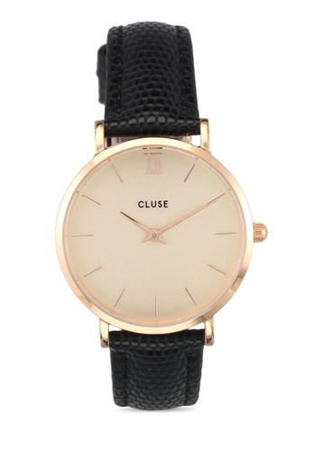 CLUSE gold Minuit Rose Gold Champagne/Black Lizard CL977AC0SA26MY_1