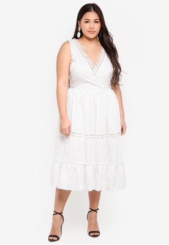 ELVI white Plus Size Juku Spot Midi Dress With Low Back AB306AAC5F09DEGS_1