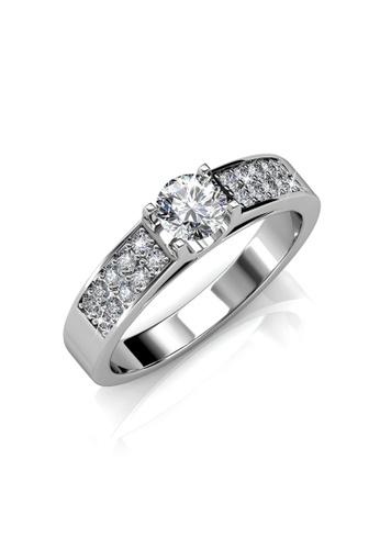 Her Jewellery silver Swarovski® Crystals - Lush Ring (White Gold) - (18K White Gold Plated) Her Jewellery HE581AC0RD8PMY_1