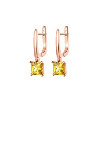 Glamorousky yellow Fashion Simple Plated Rose Gold Geometric Square Yellow Cubic Zirconia Earrings 7D697AC3E2CD81GS_1