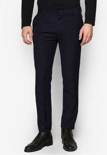 Topman blue and navy Dark Navy Textured Skinny Fit Suit Trousers TO413AA53UNAMY_1