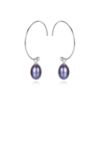 Glamorousky black 925 Sterling Silver Simple Fashion Geometric Black Freshwater Pearl Earrings 37FCBACF8AD703GS_1