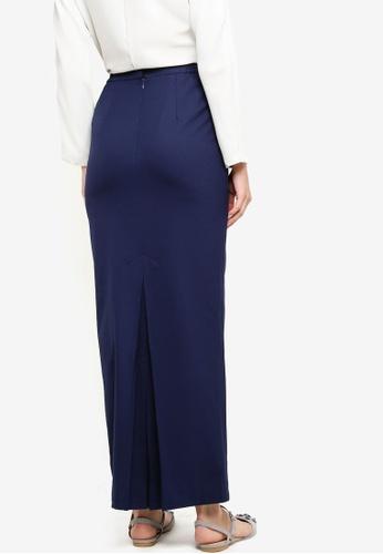 Tsyahmi for ZALORA blue and navy Back Pleat Pencil Skirt TS528AA16ZBNMY_1