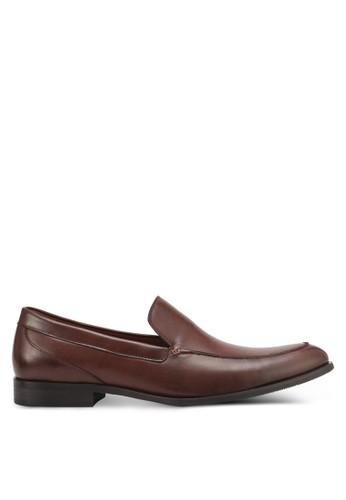 ZALORA brown Faux Leather Slip On Dress Shoes 0BC28SH2151BD8GS_1
