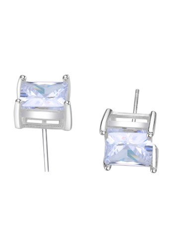 SC Tom Silver silver Square Single Stone Stud Earring SC872AC17FJUPH_1