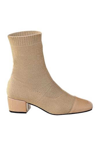 Twenty Eight Shoes beige Socking Mid Boots VB918 53B0CSH0A22430GS_1