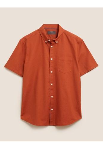 MARKS & SPENCER orange M&S Pure Cotton Oxford Shirt 435BAAABA519EEGS_1