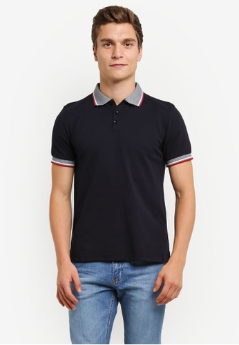 UniqTee black Contrast Piping Polo Shirt UN097AA0RS56MY_1