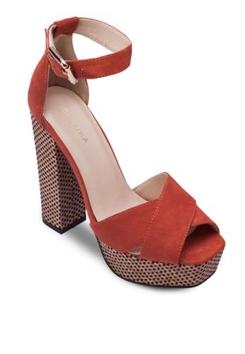 交叉zalora taiwan 時尚購物網鞋子寬帶編織粗跟涼鞋, 女鞋, 鞋