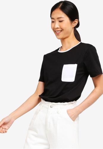 ZALORA BASICS black Basic Pocket Crew Neck T-Shirt 8B525AAD46FB8CGS_1