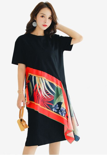 Shopsfashion black Scarf Layered Shift Dress 5A78DAA823BF74GS_1