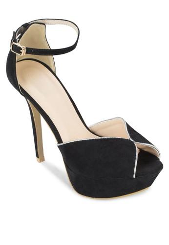 露趾繞踝麂皮高跟esprit tst鞋, 女鞋, 鞋