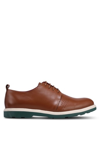 Acuto brown Leather Derbie Shoes C81D4SH855DA15GS_1