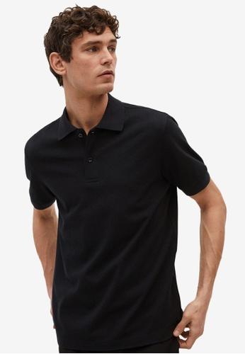 MANGO Man black Technical Cotton Piqué Polo Shirt D9014AA8D6F15CGS_1
