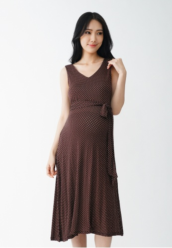9months Maternity brown Brown V-Neck Midi Maternity Dress DF783AA508769EGS_1