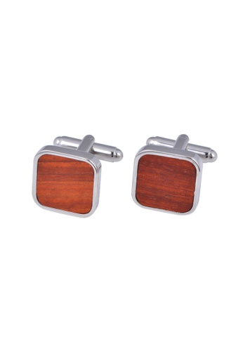 Kings Collection brown Natural Mahogany Square Cufflinks (KCW2123) D59D8ACDD96EF6GS_1