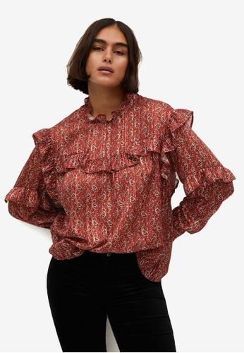 Violeta by MANGO red Plus Size Paisley Ruffled Blouse FCF1BAA46B3A6BGS_1