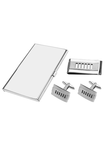CUFF IT silver Stainless Steel Cut Out Stripes Cufflinks Money Clip and Card Holder Sets 21FB7ACEC9EB0DGS_1