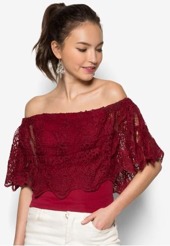 蕾絲露肩短版上zalora時尚購物網的koumi koumi衣, 服飾, 服飾