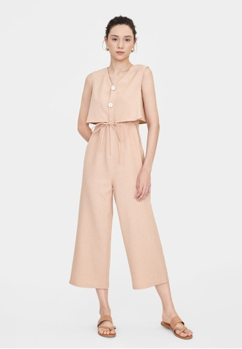 Pomelo brown Double Button Up Ruched Jumpsuit - Brown B655EAABCA93DBGS_1