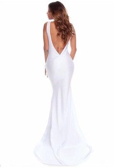 poleng white long dress