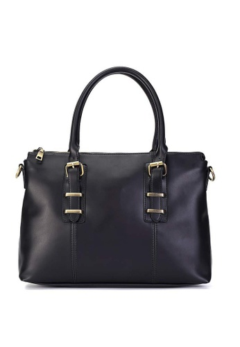 Lara black Plain Zipper Briefcase With Cross Body Strap - Black 14560AC4641351GS_1