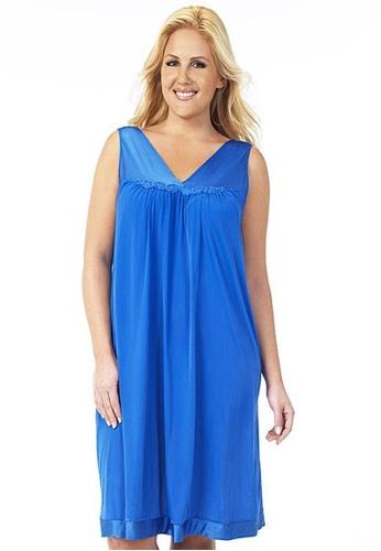 Naturana blue Sleeveless Short Gown 60CC3AAA81244CGS_1