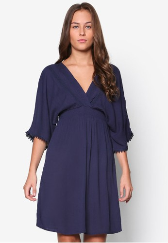 和風低胸裹飾及膝洋裝, 服esprit hk飾, 洋裝