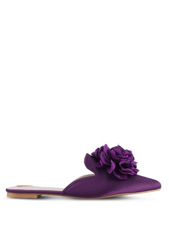Velvet purple Slip-On Flats With Flower Detail C2655SHCD2B542GS_1