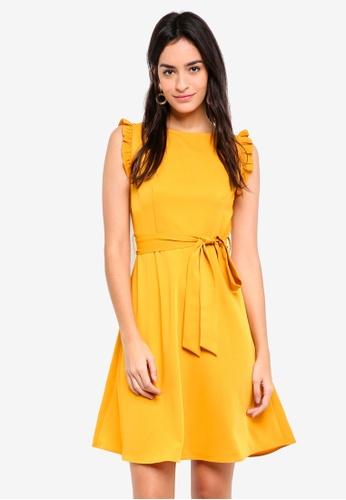 ZALORA yellow Mini Ruffles Trim Dress F4AFCAACBBF1DFGS_1