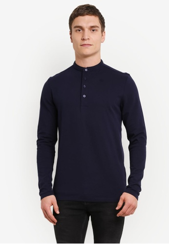 Selected Homme blue and navy Dedan China Long Sleeve Polo Shirt SE364AA0SE49MY_1
