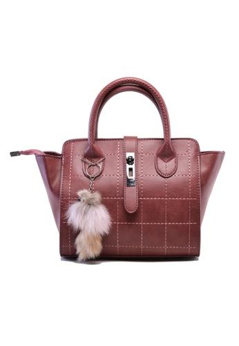 Vince red European Designed Luxury Vegan Leather Tote ( Maroon ) VI456AC75IZGMY_1
