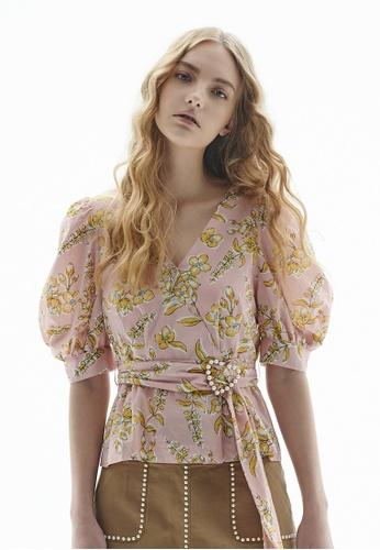 iROO multi Floral Print Wrap Blouse FEE43AAE6E074FGS_1