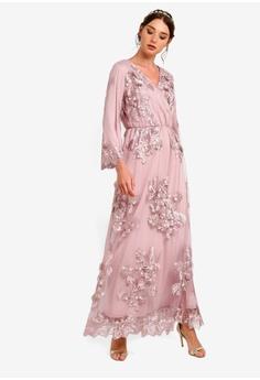 b18fda2cabf 35% OFF Zalia Embroidered Lace Wrap Dress RM 339.00 NOW RM 219.90 Sizes XS  S M L XL
