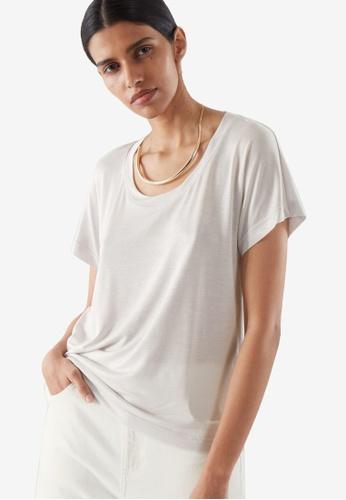 COS grey Scoop Neck T-Shirt 921BCAAC30405CGS_1