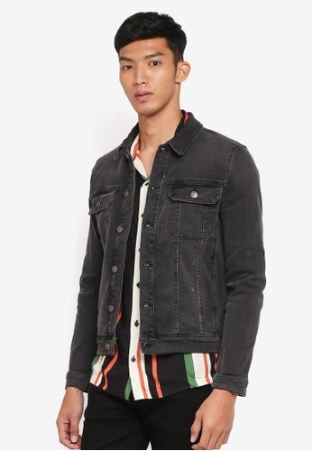 Topman 黑色 Muscle Fit Denim Jacket 5E244AA6F4553DGS_1