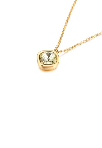 Glamorousky gold Simple and Fashion Plated Gold Geometric Square Champagne Cubic Zirconia 316L Stainless Steel Pendant with Necklace 1D84BAC5A70651GS_1