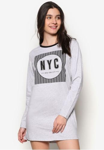 文字設計長袖連身裙TEE, 服飾zalora退貨, 洋裝