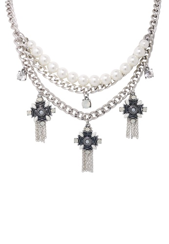 Jaysa Collection silver Street Style Silver Necklace with Pearl Chain JA875AC0F48ESG_1