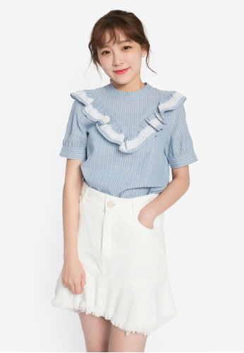 Tokichoi blue Striped Ruffle Top TO550AA0S1GRMY_1